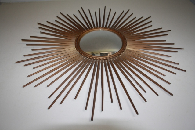 Vintage french chaty vallauris convex sunburst mirror for Chaty vallauris miroir